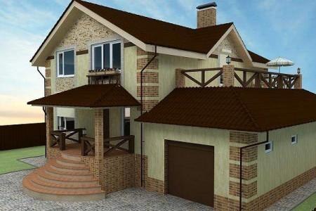 Пример стиля оформления фасада коттеджа