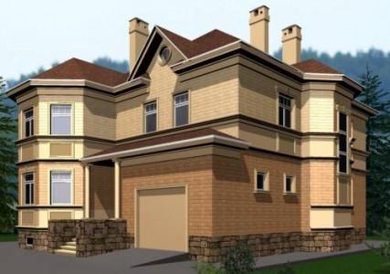 Пример дизайна фасада загородного коттеджа