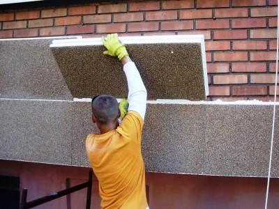 Монтаж фасадных плит теплоизоляции