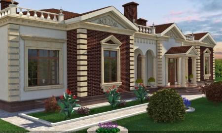 Комбинированная отделка фасадов: штукатурка, лицевой кирпич, обрамление окон - искусственный камень