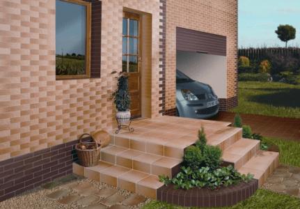 Дом с отделкой фасадной керамической плиткой