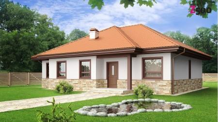 Красивый комбинированный фасад - штукатурка и искусственный камень
