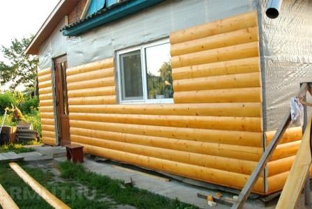 Монтаж блок-хауса на фасад дома