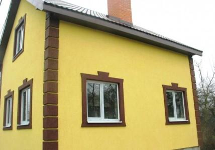 Отделка фасадов короед с камнем